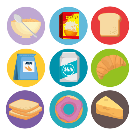 group of nutritive food icons vector illustration design Stock Vector - 100713711