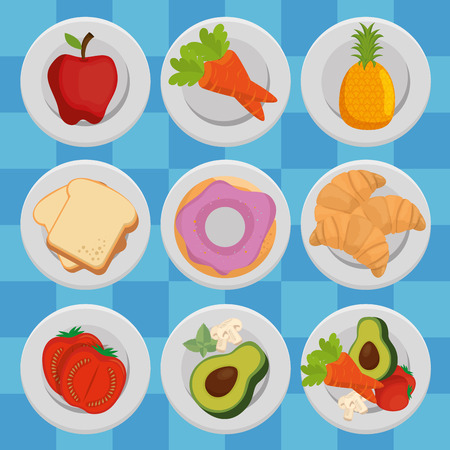 group of nutritive food icons vector illustration design Stock Vector - 100724932