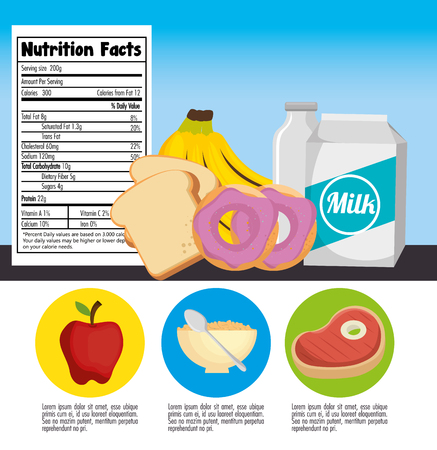 A group of nutritive food with nutrition facts vector illustration design Illusztráció
