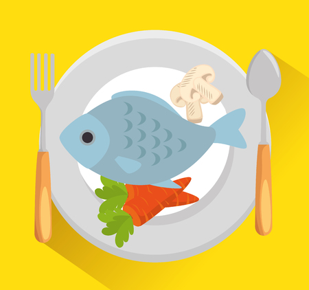 dish with fish and vegetables vector illustration design