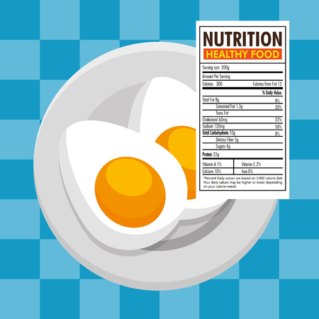 eggs frieds with nutrition facts vector illustration design Illustration
