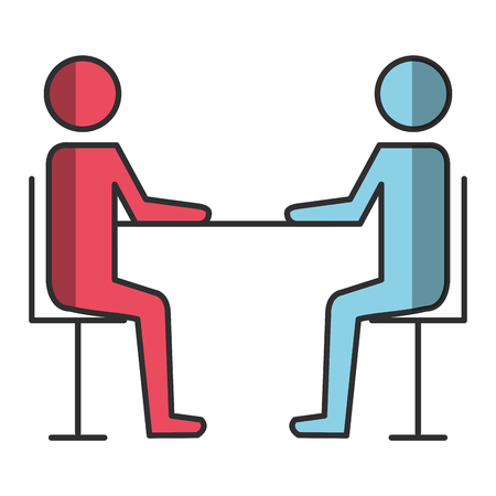 couple human silhouettes in the table vector illustration design