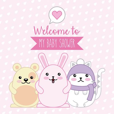 welcome baby shower poster animals kawaii cartoon vector illustration Ilustração