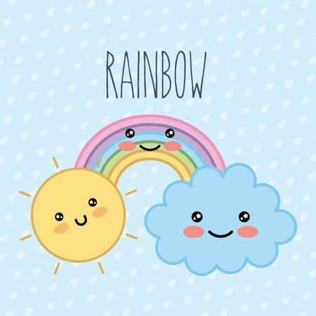 rainbow cloud sun kawaii cartoon dots background vector illustration