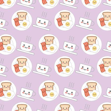 kawaii breakfast food egg bread bacon cartoon pattern vector illustration