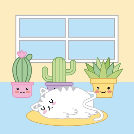 sleeping cat kawaii cartoon plants in room vector illustration