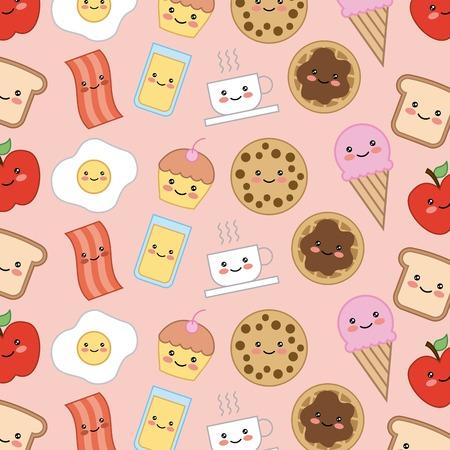 bread bacon cookie cake egg apple kawaii cartoon food vector illustration