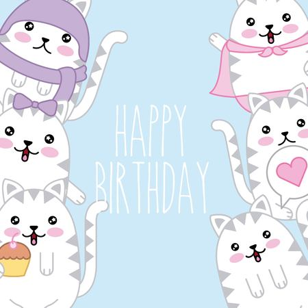 kawaii cute cats happy birthday card template vector illustration