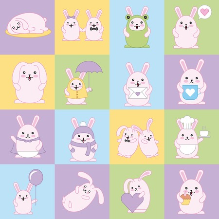 kawaii cats in square background color decoration vector illustration