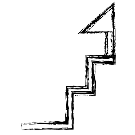 stairs up with success flag vector illustration design