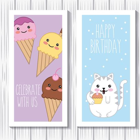 kawaii cat and ice cream happy birthday celebrate with us cards vector illustration Illustration