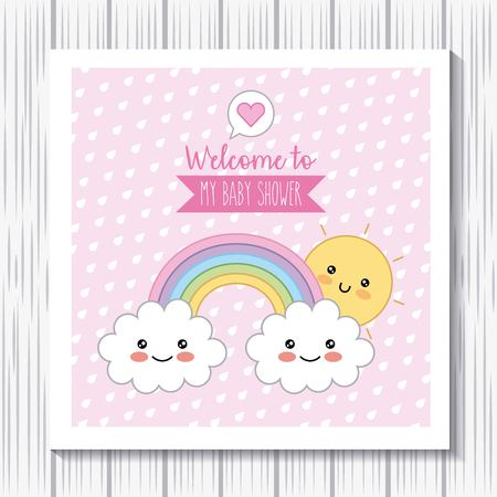 kawaii rainbow clouds sun welcome baby shower poster vector illustration