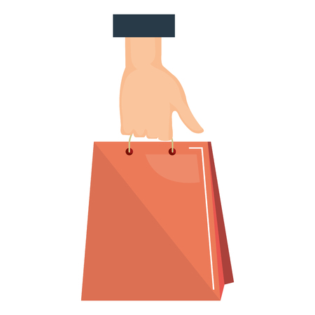 buyer hand with shopping bag vector illustration design Illustration