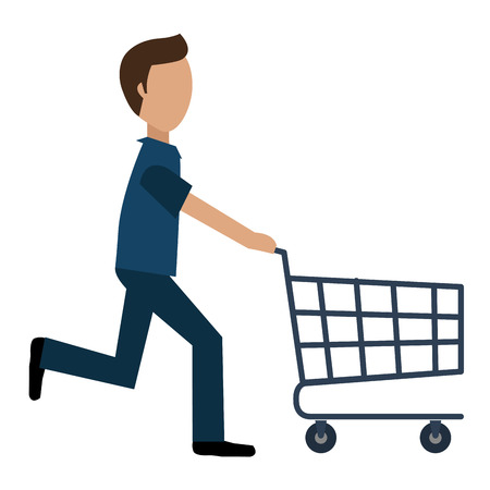young man running with shopping cart vector illustration design Stock Vector - 100872689