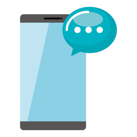 smartphone with speech bubble vector illustration design