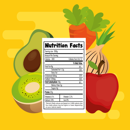 fruits and vegetables group with nutrition facts vector illustration design