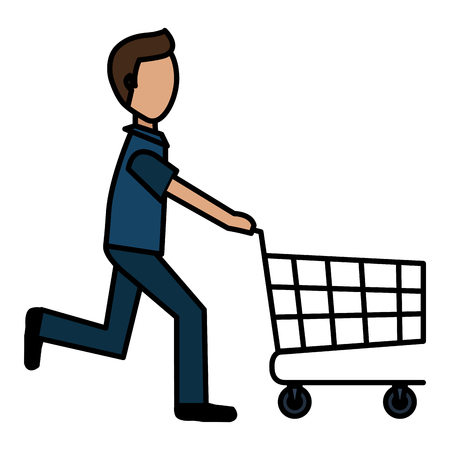 young man running with shopping cart vector illustration design