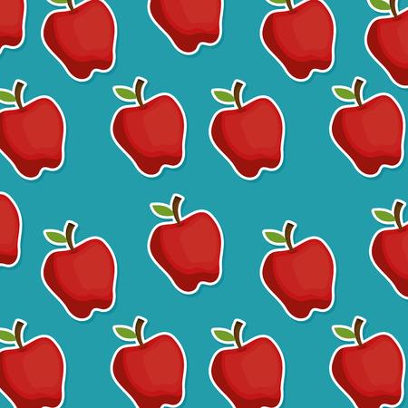 Fresh apples pattern background vector illustration design.