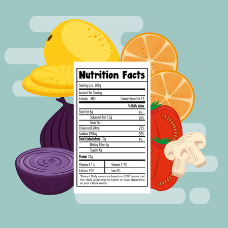 Fruits and vegetables group with nutrition facts vector illustration design.