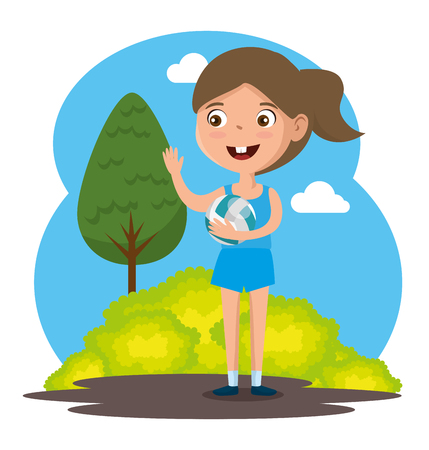 little girl playing volleyball happy character vector illustration design