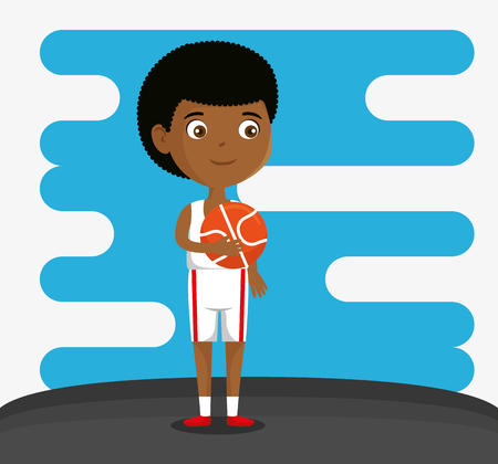 little boy playing basketball happy character vector illustration design