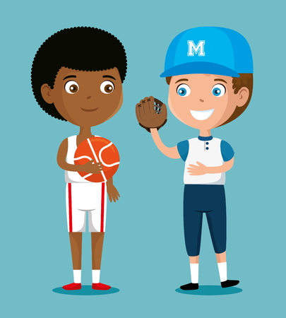 little boys practicing sports happy characters vector illustration design 일러스트