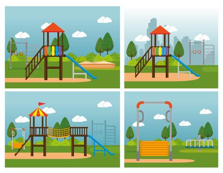 Parc avec conception d'illustration vectorielle scène kid zone