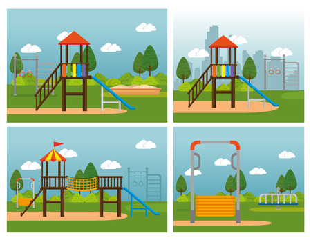 Park with kid zone scene vector illustration design
