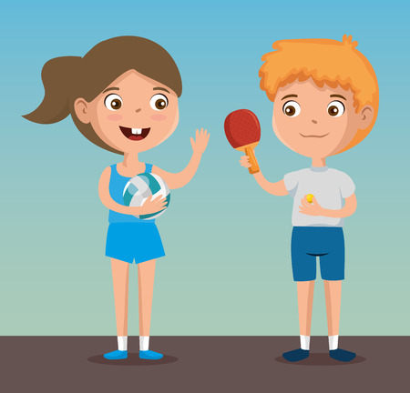 Happy kids couple playing sports characters vector illustration design