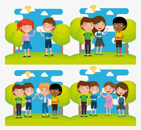 Group of happy kids in the park scene characters vector illustration design Ilustração