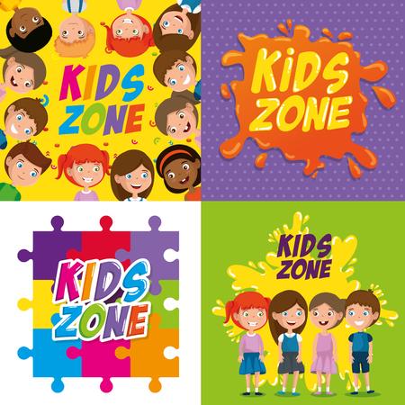 Happy kids zone labels vector illustration design Stock Illustratie