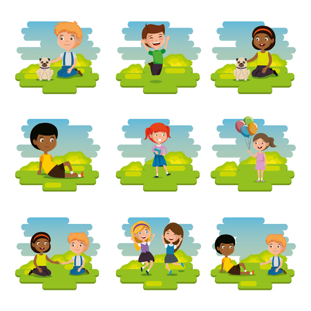 Group of happy kids in the park scene characters vector illustration design Imagens - 100909517