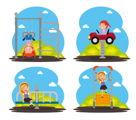 Park with kid zone scene with kids playing vector illustration design