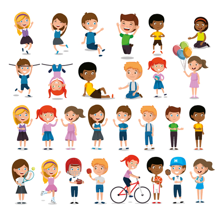 Group of happy kids practicing sports characters vector illustration design