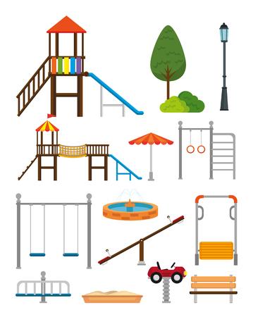 Parque con diseño de ilustración de vector de escena de zona infantil