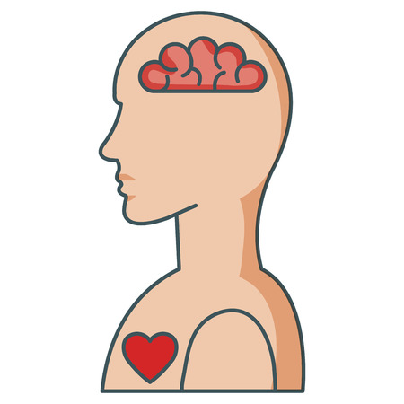 Human profile with brain and heart vector illustration design