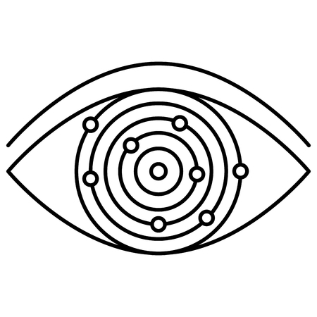 eye with electric circuit vector illustration design
