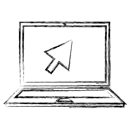 computer laptop with arrow cursor vector illustration design Illustration
