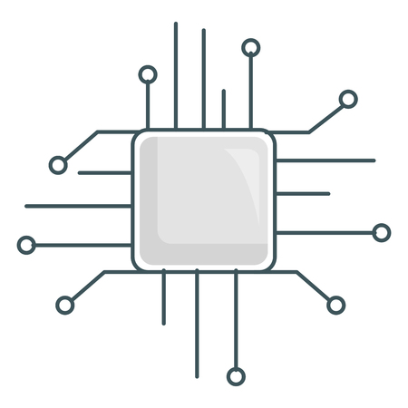 Processor chip icon illustration design