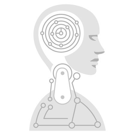 Robot humanoid profile icon illustration design Archivio Fotografico - 100751733