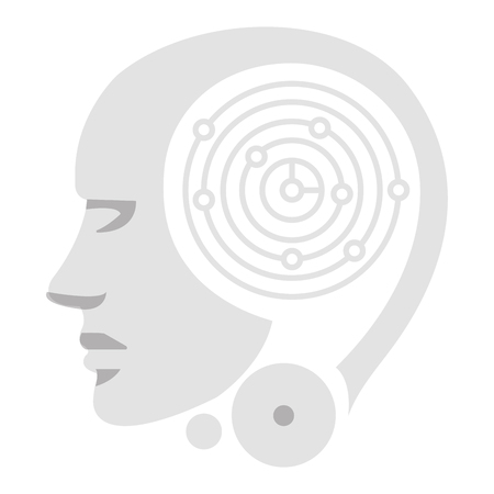 Robot humanoid profile icon illustration design