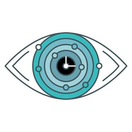 Eye with electric circuit illustration design Çizim