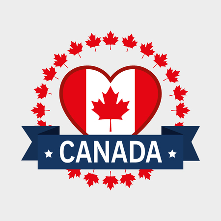 Canada flag in heart shape illustration design Vettoriali