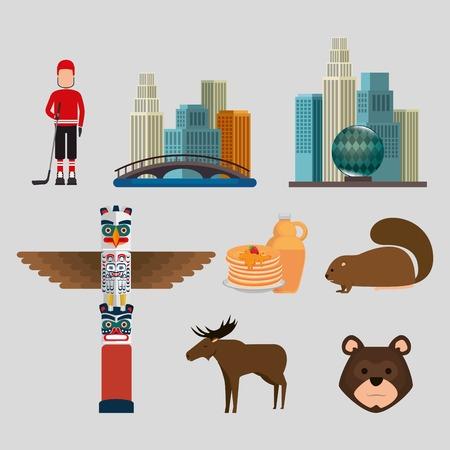 Set of Canadian culture set icons illustration design