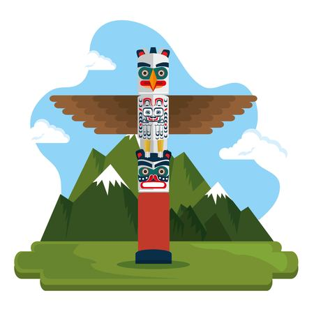 Totem culture Canadian scene illustration design