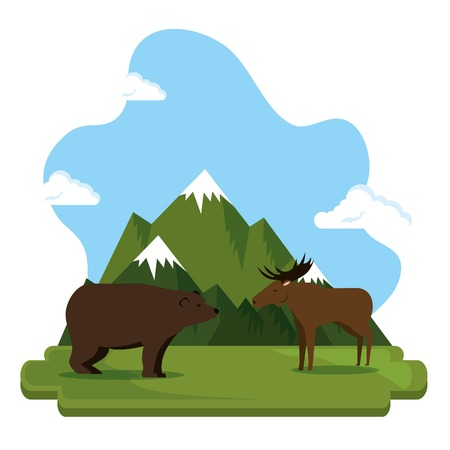 Grizzly bear and moose  illustration design