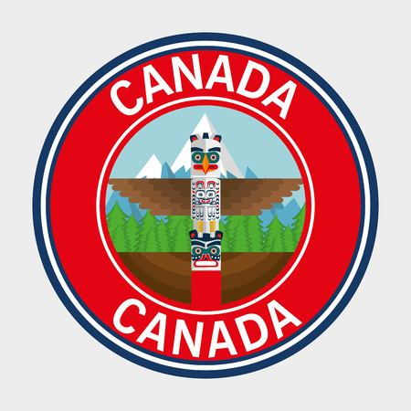 Canada quality seal icon with totem illustration design Foto de archivo - 100755503