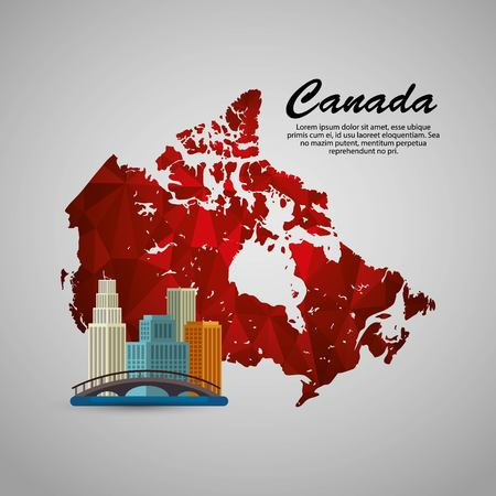 Canadian cityscape scene and map  illustration design