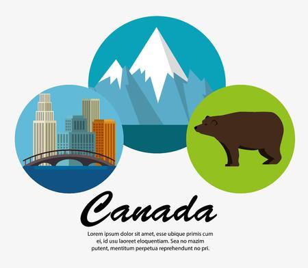 Canada culture set icons illustration design