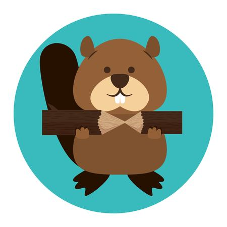 Beaver Canadian animal scene vector illustration design.